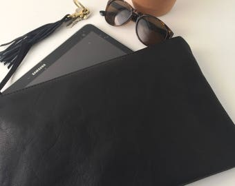Black Leather Clutch. Large Leather Pouch. Soft Leather Bag