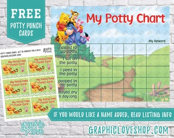 Printable Winnie the Pooh Potty Chart, FREE Punch Cards | Digital JPG Files, Instant download