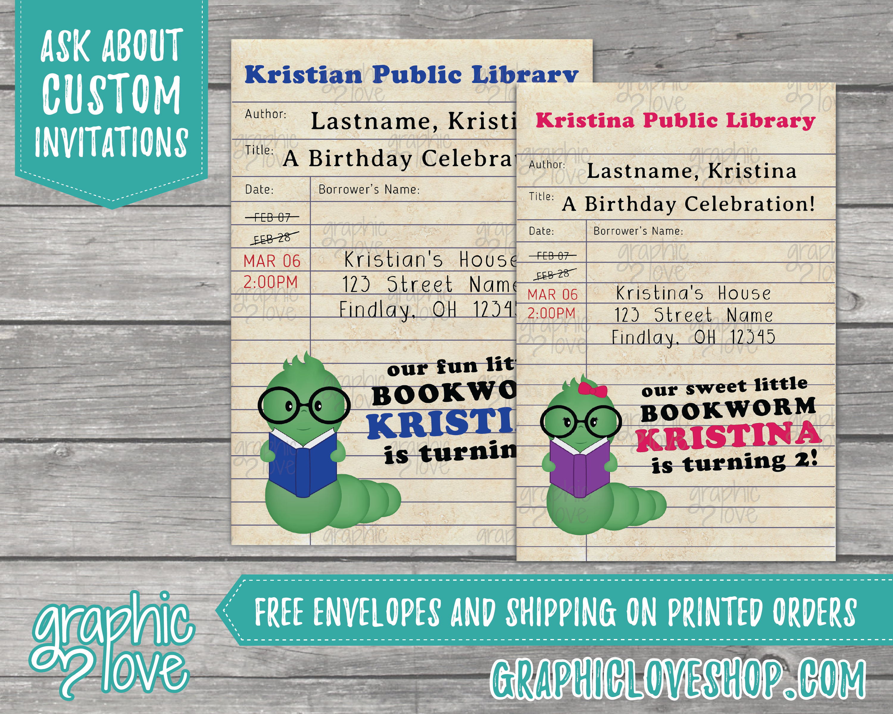 Personalized Bookworm Library Card Boy Girl Birthday Invitation