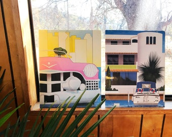 Vintage deadstock 1980's art prints - set of 2