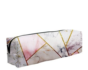 Marble Mix Pencil Pen Case Box Pencilcase School Tools Pocket Cube Cuboid Fullprint Stone Concrete Kintsukuroi Alabaster  White Pink Gold