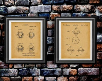 Dungeons and Dragons Dice Wall Art D&D Decor DnD Artwork RPG Player Games Gift for Table Top Gamer Role Playing Game Art Set of 2 PP 4222