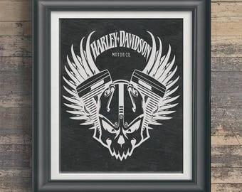 Harley Poster Harley Logo Art Harley Owner Gift 4 Harley Rider Harley Wall  Art Harley Artwork Part 77