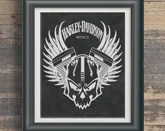 Harley Poster Harley Logo Art Harley Owner Gift 4 Harley Rider Wall Art Harley Davidson Garage Poster Garage Art Man Cave Poster PP 8050