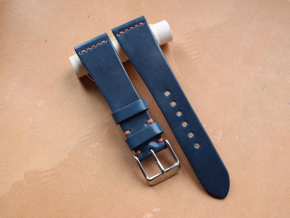 Custom Blue Tuscany Shell Cordovan watch band - simple middle stitch