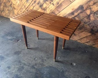 Mid Century Style Custom Walnut Slat Bench Table