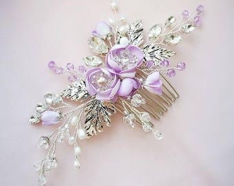 Flower hair comb for bridal veil Wedding hairpiece Bridal hair piece Floral hairpiece Bridal hair comb Wedding hair piece Wedding hair band