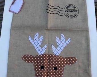 Personalized Burlap Santa Sack, Personalized Reindeer Santa Sack