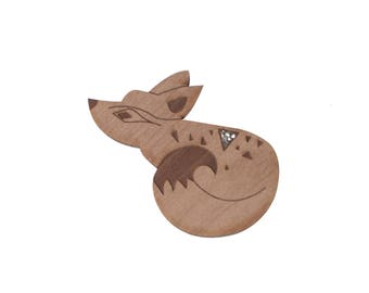 Brooch Fox BEW wood straw