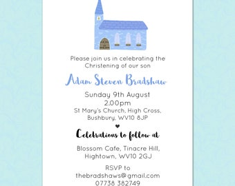 Christening Invitations - Church - Blue/Pink/Purple - Any Colour, Customizable