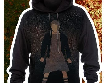 Stranger Things Hoodie    Eleven    Handmade to Order Bleach    Unisex    OOAK Free Shipping