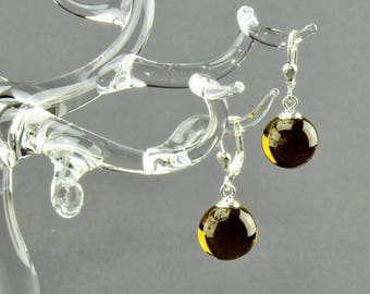 Earrings ball / Brisur 925/000 Silver rhodium plated, olivine