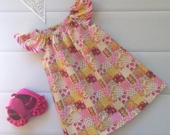 Girls Dress Flutter Sleeve Size 2, Floral, Roses, Patchwork, Pink, Yellow,boho, handmade girls dress, toddler dress, summer dress, party dre