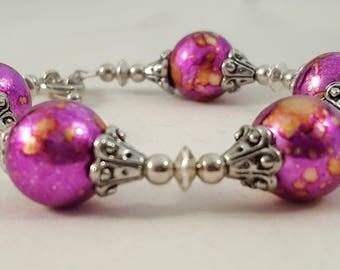 Pink, Gold & Silver Bracelet - Pink Bracelet - Gold Bracelet - Silver Bracelet - Metallic Bracelet - Pink Jewelry - Gold Jewelry -Decorative