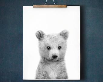 Bear print, Baby animal prints, PRINTABLE art, Nursery decor, Animal art, Black and white, Nursery wall art, Woodland nursery, Kids wall art