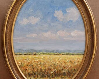 Autumn Field, Original Oil Painting in a gold frame.