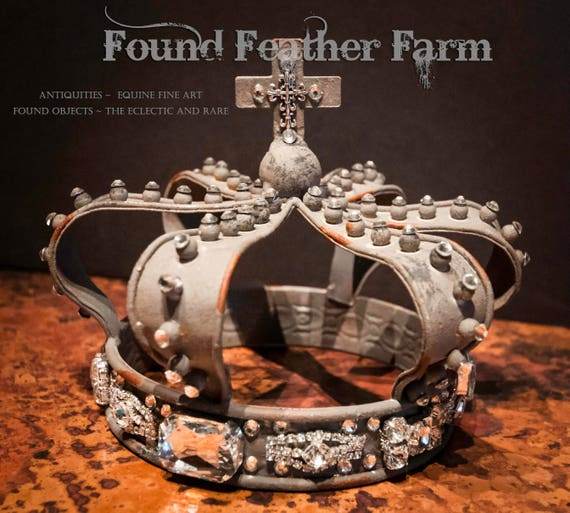 Magnificent Jeweled Zinc Crown Heavily Embellished with Crystals and Bling