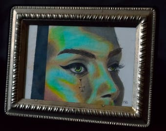 Framed Colored Pencil Drawing, Female Portrait