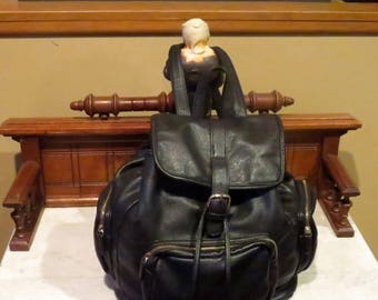 Vintage Black Leather Backpack By Forever 21 With Silver Tone Hardware - Very Good Condition