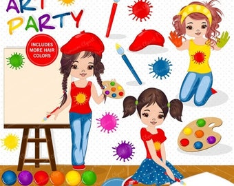 80% OFF SALE Painting party clipart, Girl clipart, Art party clipart, Little artist clipart, Digital images - CA497