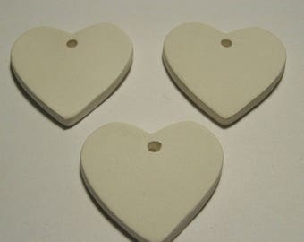 "3 pc Bisque Hearts 1.5"" 35mm gift tags diffusers aromatherapy jewelry; paint your own; kids;DIY sachets; charms ITPH ceramic kiln fired clay"