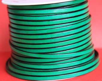 MADE in EUROPE 1 yard of 5mm flat leather cord, genuine green leather 5mm strip, flat green leather cord (221/05/15)