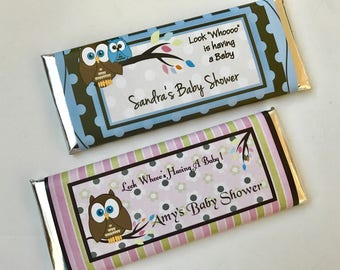 Look whoo is having a baby, unique baby shower favor, baby shower favours, personalized candy bar wrapper, baby boy, baby girl, 24 ct.