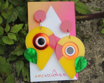Lovebird Parrot Bird Earrings - abstract laser cut acrylic plastic