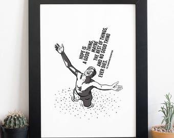 The Shawshank Redemption Art Poster, Tim Robbins Vector Art, Movie Poster,  Cult Original Art Poster Print, Illustrations, Typography