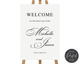 Black and White Calligraphy Wedding Welcome Sign, Wedding Poster, Free Colour Changes, DIY Printable We Print, Black and White