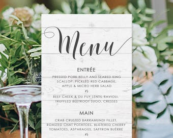 Wedding Menu, Custom Printable Menu, Beach Wedding, Timber, Free Colour Changes, DIY Wedding, Print Your Own, Modern Beach Suite