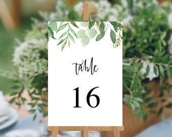 Wedding Table Numbers, Printable, Digital PDF File, Watercolour Foliage Leaves Wedding Table Cards, Amy Suite