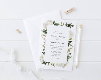 Wedding Invitation Suite, Printable or Professionally Printed, White Flower Invites, Watercolour Floral, Rustic Garden Wedding, Mandy Suite