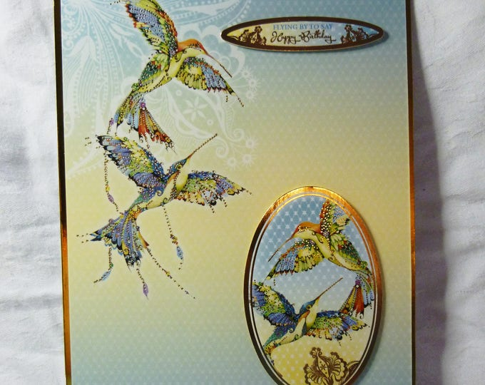 Humming Birds In Flight, Exotic Birds, Birthday Card, Greeting Card, Female, Any Age, Mum, Daughter, Sister, Niece, Aunt, Friend