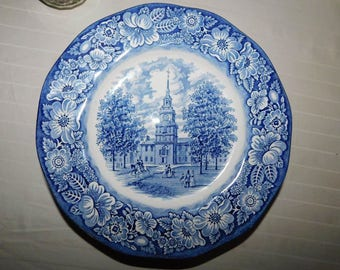 Vintage Liberty Blue Staffordshire Ironstone Made England, Independence Hall Plate, Original Copper Engravings Of Historic Colonial Scenes