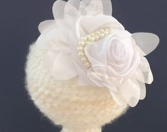 Baby toddler headband 5 inch Rose bow decorated with faux pearls and a petite silk bow. Infant photo prop Baby shower new Mom gift