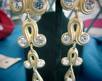 Vintage  Brushed Gold Scroll Drop Dangle - pierced/new w/ rhinestone center