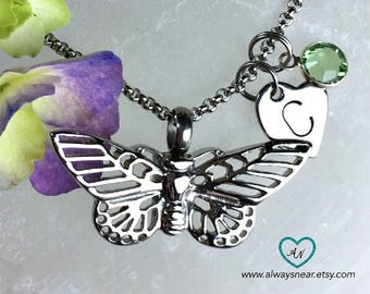Butterfly urn pendant • Cremation jewelry • Ashes necklace • Cremation necklace • Memorial Urn • personalized urn • urn keepsake