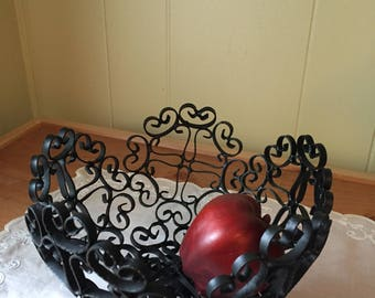 Vintage Black Wrought Iron~ Fruit bowl~ Pedestal~ Made in Spain