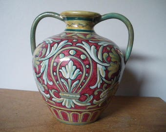 Antique AR Alberto Rubboli Italian Luster Majolica Pottery Vase