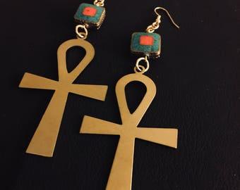 Brass Ankh earrings