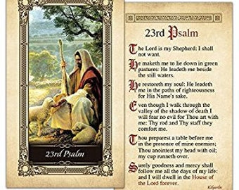 23rd Psalm Laminated Holy Card - One Card