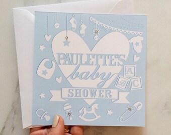 Baby Shower Card, Blue Baby Shower Card, Card for a Baby Shower, New Baby Card, Baby Boy Card, Card for a Baby Boy, Personalised Baby Card