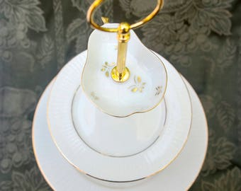 Classic Three Tier Stand with Pear Topper; Cake stand, cupcake stand, cookie stand, tiered stand, jewelry stand, tea party, bridal stand