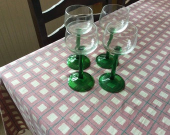 4 French made elegant wine glasses with green stems