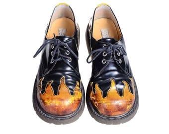 Vintage 90s Black FLAMES Goth Punk Chunky DELIAS Oxford Creepers Boots Shoes Club-Kid 9 vtg