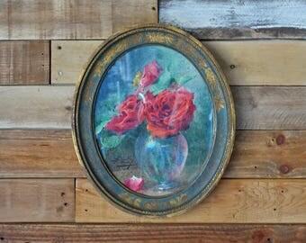 Antique victorian flowers framed print- Plaster frame - Oval frame - Shabby chic decor