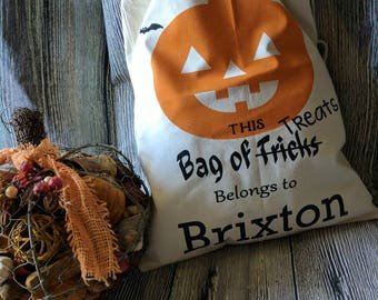 Trick or treat bags, customized trick or treat bag, trick or treat bag with name, Halloween candy bag, customized Halloween candy bag