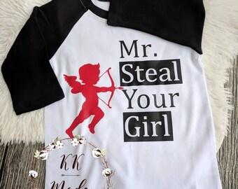Valentine's day shirt, toddler boy Valentine shirt, Mr steal your girl shirt, funny Valentine's day shirt, cute valentine, Cupid valentine