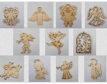 Set of 11  Christmas tree decorations, Christmas wooden angels, Christmas wooden toys.